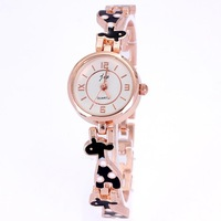 New popular fashion clock women quartz brand gold rose drop rubber lovely animal bracelet designer 3 colors free shipping