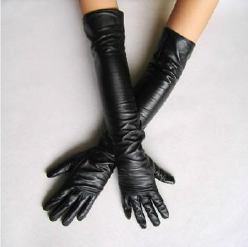 Классические элегантные кожаные перчатки длиной выше локтя.