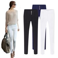 2014 autumn and winter Korean fashion decorative buttons Slim stretch pencil pants feet Leggings Bottoms