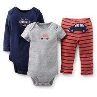 Carters Autumn Baby's Sets Bodysuits Pants 3pcs Set Newborn Baby Boy Clothes Sets Cotton conjunto de roupa Baby Boy Clothes