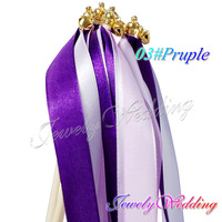 60Pcs Outdoor Wedding Ribbon Stick / Sparklers Fairy Magic Wands with Bells Wedding Party Decorative Garland Favor Free Shipping