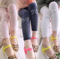 new 2014 autumn winter children girl blue beige pink lace trim rhinestone bow leggings kids fashion cotton wholesale legging