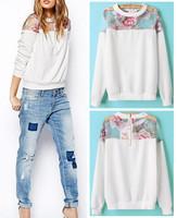 2015 Spring Autumn Women's Floral Print Organza Stitching Crew neck Long sleeve Pullover Jumper Hoodies Sweatshirts Jumper Tops