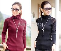 Bud silk flowers joker long sleeve turtleneck render the knitting women sweater
