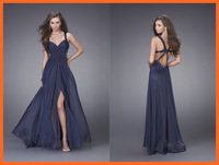 2014 Evening Dresses A Line V Neck Spaghetti Straps Chiffon Ruched Split Beads Floor Length Party Dresses Women Gown
