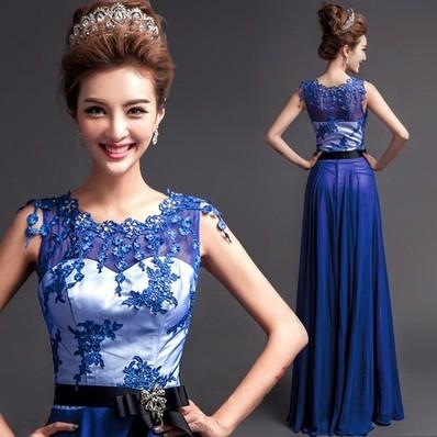 New blue diamond lace bride wedding dresses 2015 floor length zipper