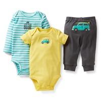 Carters Baby Boy Clothes,Baby Bodysuits,3pcs Set, Newborn, Cartoon Car,baby's sets,Cotton roupas de bebe, Baby Boy Clothing Set
