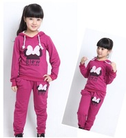 Retail 1pcs love clothing micky kids girls clothes sets,baby girl long sleeve + pant set Children love sports kids clothing sets