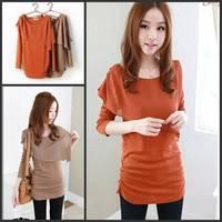 Spring Autunm New Fashion Solid T-shirt Chiffon All-match Slim Women's Tshirt with Long Sleeve Tee Free Shipping
