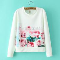 2014 New fashion Europe Women elegant positioning flower printed Hoodies Lady casual slim brand design Pullovers #E806
