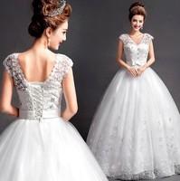 New Sexy Backless Lace UP Wedding Dresses Korea Women Princess Diamond Floor Length Bridal Dress Perspective Long Dresses