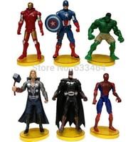 "2014 NEW Hot 6 pcs/set Marvel batman Iron Man Hulk Captain America Action Figure Superhero avengers Mark PVC 6"" toy"
