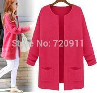 Free shipping 2014 during the spring and autumn winter korean dress loose big yards long flat knit cardigan coat 1071