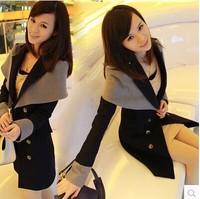 2014  new European style  Women Slim  cape  winter woolen coat