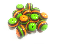 Newest ! 20mm 100pcs/lot  Orange/Coffee/Lime Green Stripe Beads For Chunky Kids Necklace Making
