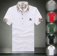 Men's quality men's Lapel Polo Shirt Mens Short Sleeved T-shirt breathable pearl cotton short sleeved polo shirt