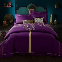 "2014 New home textile 100% cotton long-staple cotton silk embroidered wedding bedding set ""The wishing Tree"" purple king queen(China (Mainland))"