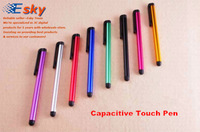 1LOT 500 PCS Min Order Retail Stylus Pen for Tablet PC Smardphone Capacitive Touch Pen 9 different colors to mix in a lot