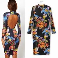 2014 Women Summer Dress Long Sleeve Backless Womens Dress Vestidos Sexy Knee Length Party Dress Club Evening Floral Print Dress