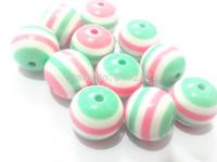Newest ! 20mm 100pcs/lot  Pink/White/Mint  Green Chunky  Resin  Stripe Beads Free Shipment !