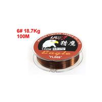 Free  shipping Copper Tone Nylon Strength Fishing Line Spool 6# 0.4mm Diameter 18.7Kg 100M 10pcs