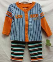 1pcs new baby boys longsleeve suit 2014 autumn original carters cardigan tops+stripe leggings 2-piece set boy's clothing outfits