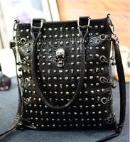 Free Shipping 2014 New Arrivel Chains Skull  Women Handbags Rivet Bolsas Femininas PU Leather Messenger Bags For Grils