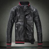 Top quality EU brand fashion designer winter jacket casual stand collar zipper sheepskin leather coat clothing black