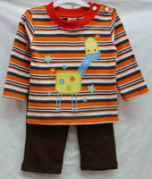 1pcs new baby boys longsleeve suit 2014 autumn carters stripe giraffe T-shirts+leggings 2-piece set boy's clothing outfits