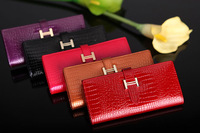 Lady crocodile pattern genuine cow patent leather wallet purse clutch 5 colors black/red/rose red/gold/purple  choose