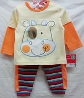 new baby boys longsleeve suit 2014 autumn kamacar cartoon animal cow T-shirts+stripe leggings 2-piece set boy's clothing outfits
