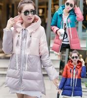 2014 winter coat women loose wadded jacket spliced parkas winter jacket women fashion plus size winter coat long thick jackets