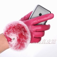 2014 Winter Fur Decoration Cute Leather Touch Gloves Sheep Skin Gloves Leather Gloves S/M/L Winter Mittens Factory Dropshipping