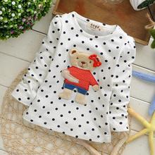 girls baby's polka dot bear baby children sweatshirts hoodies drop shippig KT215R(China (Mainland))