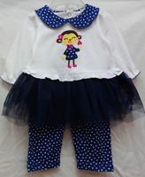 new baby girls longsleeve dress suit 2014 autumn carters monkey tutu dress+polka dot pants 2-piece set girl's clothing outfits