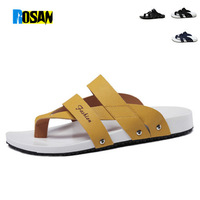 Rosan 2014 new summer beach men's sandals,geenuine leather high quality flip flops fashion slippers for men