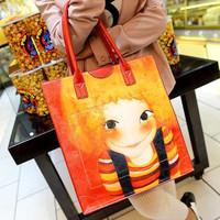 Sweety women's fashion PU leather handbag 2014 lady print doll cute baby face vintage portable shopping bags stars favorite 2014