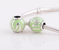 YZ218 Green Enamel DIY Jewelry 925 Sterling Silver Screw Thread Charms Beads Suitable for European Pandora Snake Chain