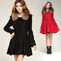 Slim medium-long sheep trophonema wool coat outerwear