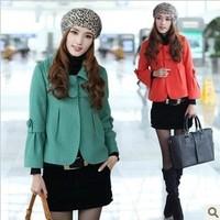 Women's peter pan collar slim short design woolen outerwear woolen short jacket