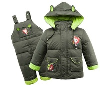 Retail new 2014  winter baby boys girls thick snow down jacket coat+Bib clothing set,-30 degree keep warm 2pcs kids clothes set