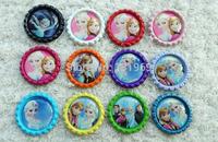 "wholesale 60pcs 1 "" (25mm ) frozen Elsa Anna Flattened Bottle Caps  DIY hair bow center decorations hair accessories Xmas gift"