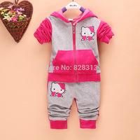 Roupas Meninos Hello Kitty Girls Sport Suits Long Sleeve Hoodies Sets Children Cardigan Jacket +pants 2 Pcs Children's Clothes