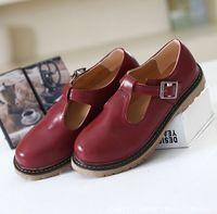 Retro autumn T women shoes round head shoe casual sweet flats women loafers size 35-39 s1112