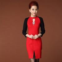 2014 Autumn winter desigual Women long sleeve plus size casual black red dress high street dresses wholesale drop shipping B2090