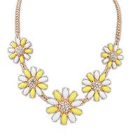 necklace for women 2014 elegant  yellow crystal flower imitation gem summer faux collar necklace&pendant