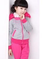 Retail 2014 new Children clothing set girls spring long sleeve colorful strip contrast color cotton leisure suit(coat+pants)