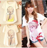 Sweet 2014 Women Blouse Spring Summer Chiffon Shirt Character Casual Print Chiffon Blouse Short Sleeve O-Neck Women Shirt