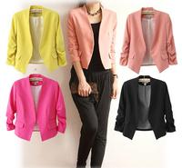 Long Points Short Sleeve Multicolor Candy-Colored Suit Jacket Female 5 colors Women Coat Women Blazers Autumn Jackets And Coats