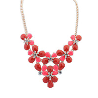 new fashion necklaces & pendants vintage brand costume red imitation gemstone flower chunky Necklace pendant statement jewelry